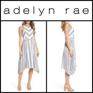 Brand New Adelyn Rae Pleated Stripe Midi Dress